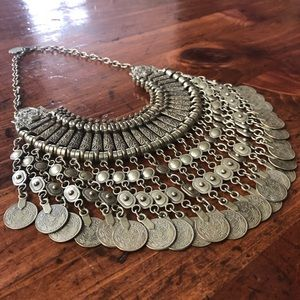 Free People Antalya Gold Coin Bib Necklace